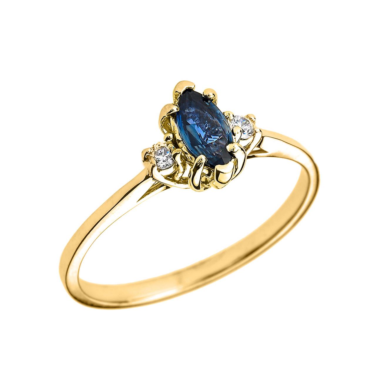 Beautiful Yellow Gold Diamond and Sapphire Proposal and ...