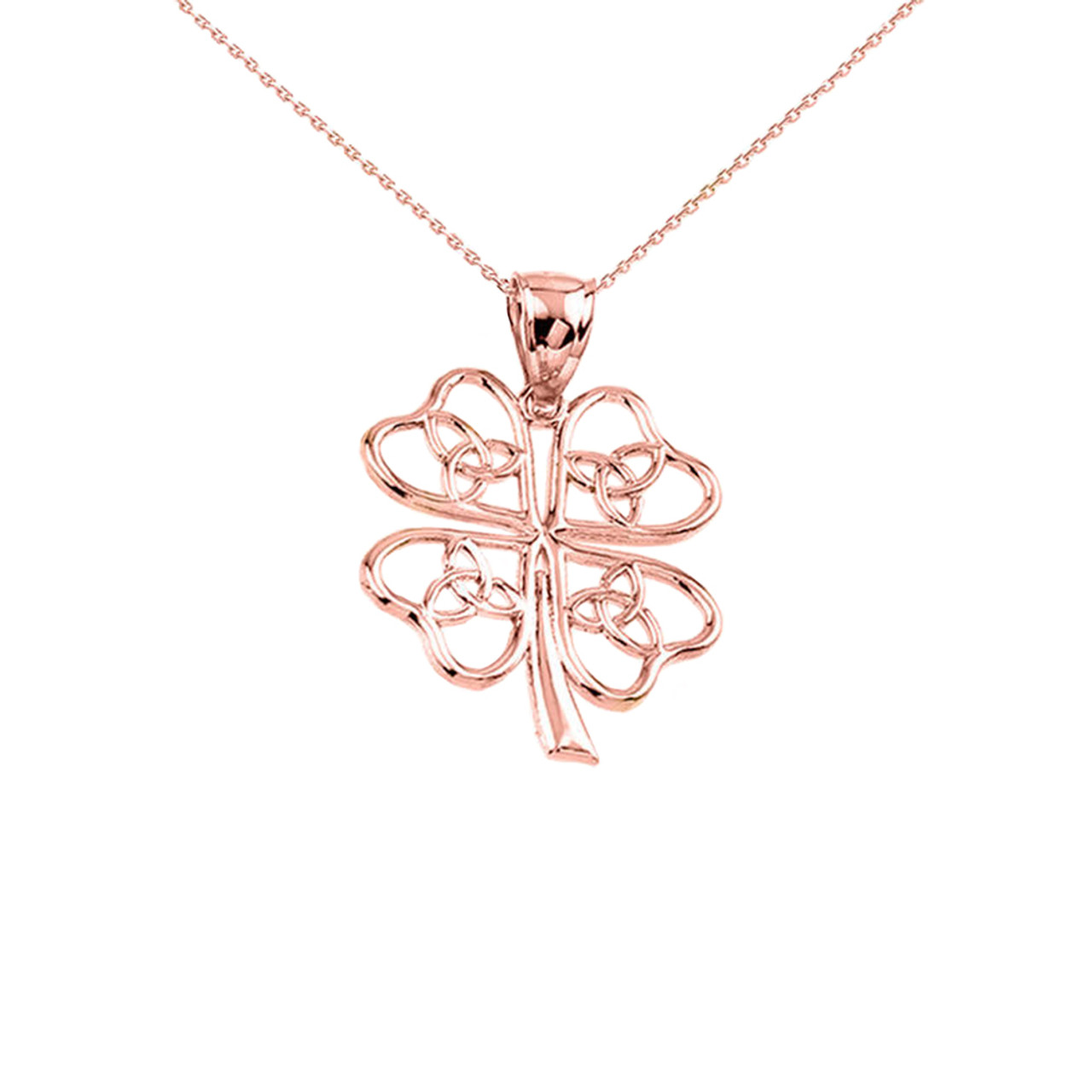 Rose gold celtic trinity knot clover pendant rose gold celtic trinity knot clover pendant necklace aloadofball Choice Image