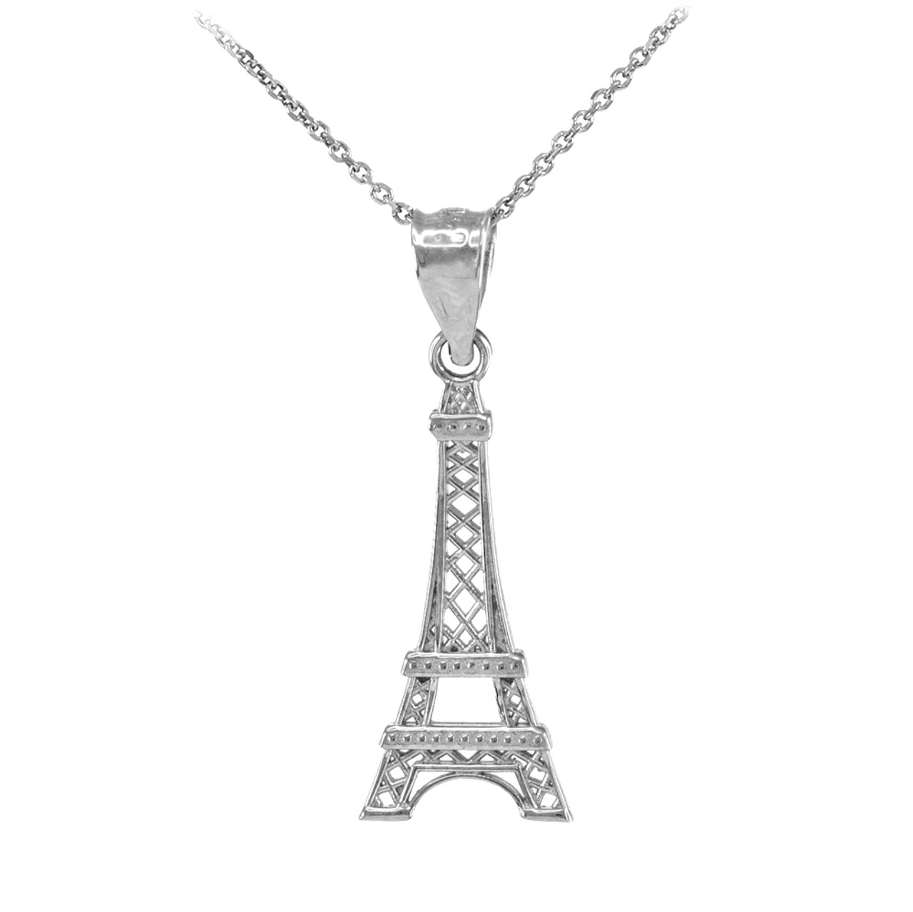 White gold eiffel tower pendant necklace mozeypictures Image collections
