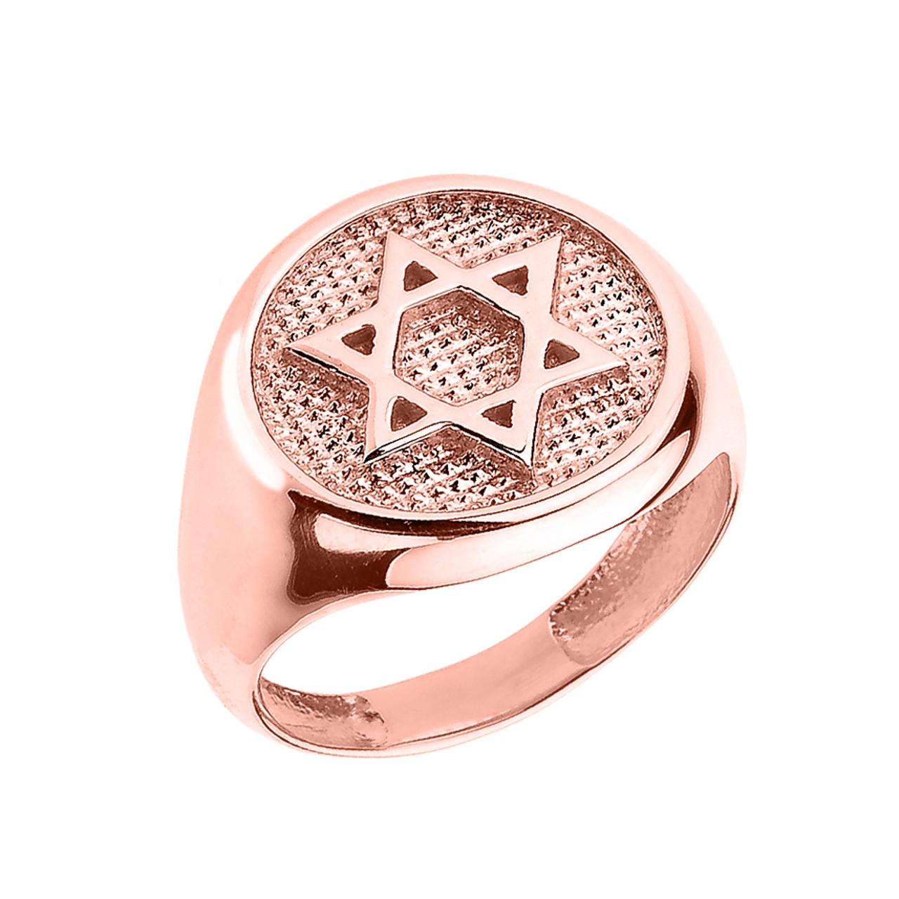 Solid Rose Gold Jewish Star of David Men\'s Ring