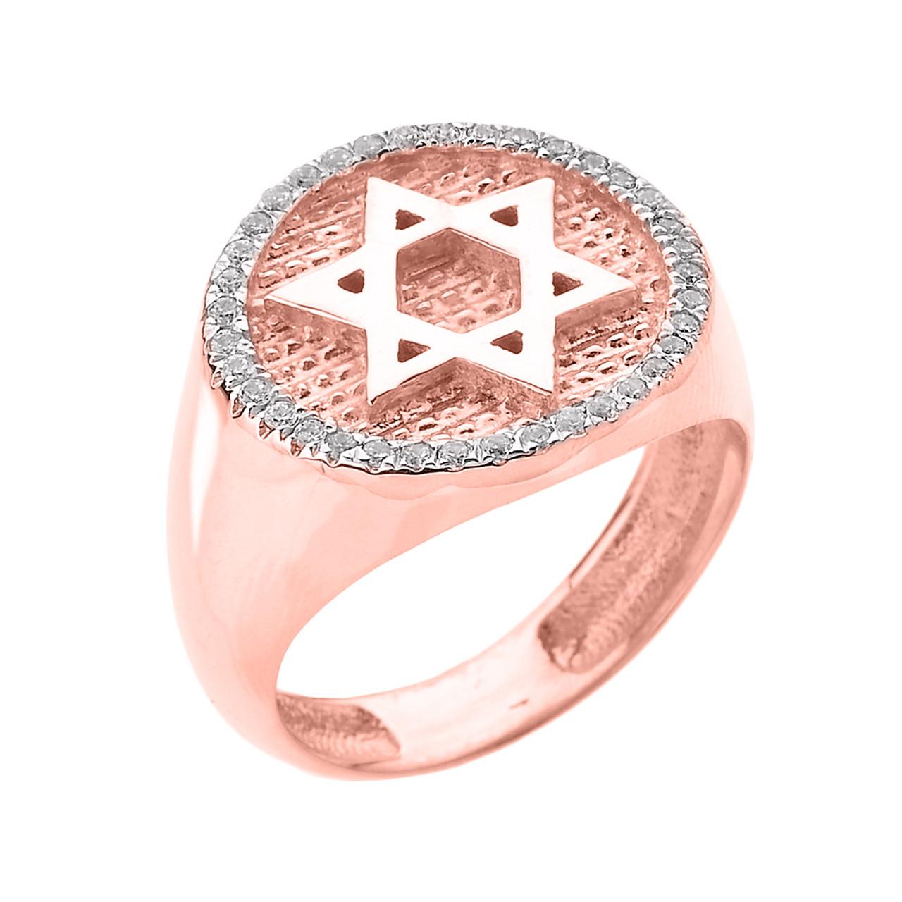 Solid Rose Gold Jewish Star of David Men\'s Diamond Ring