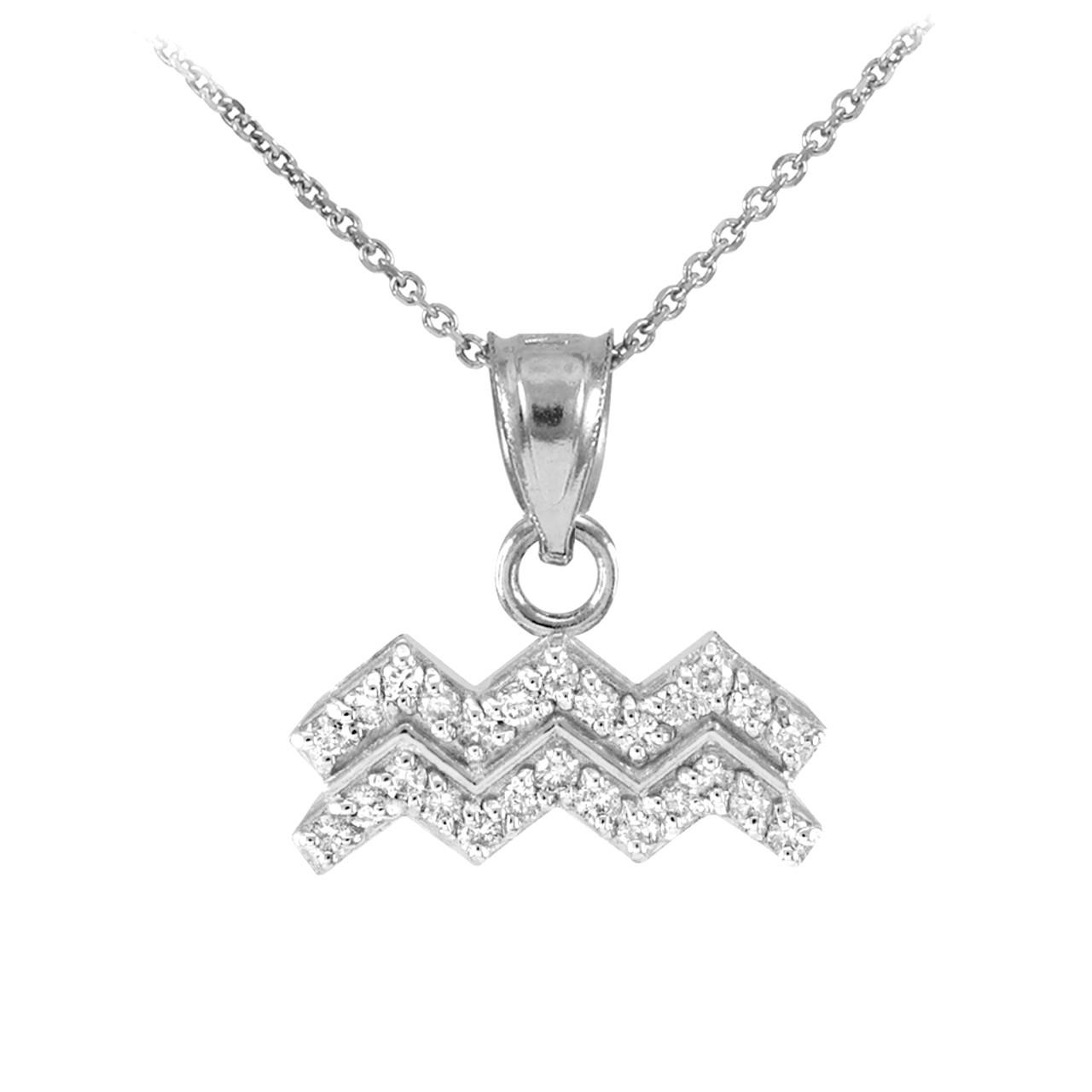 14k white gold aquarius zodiac sign diamond pendant necklace aloadofball Gallery