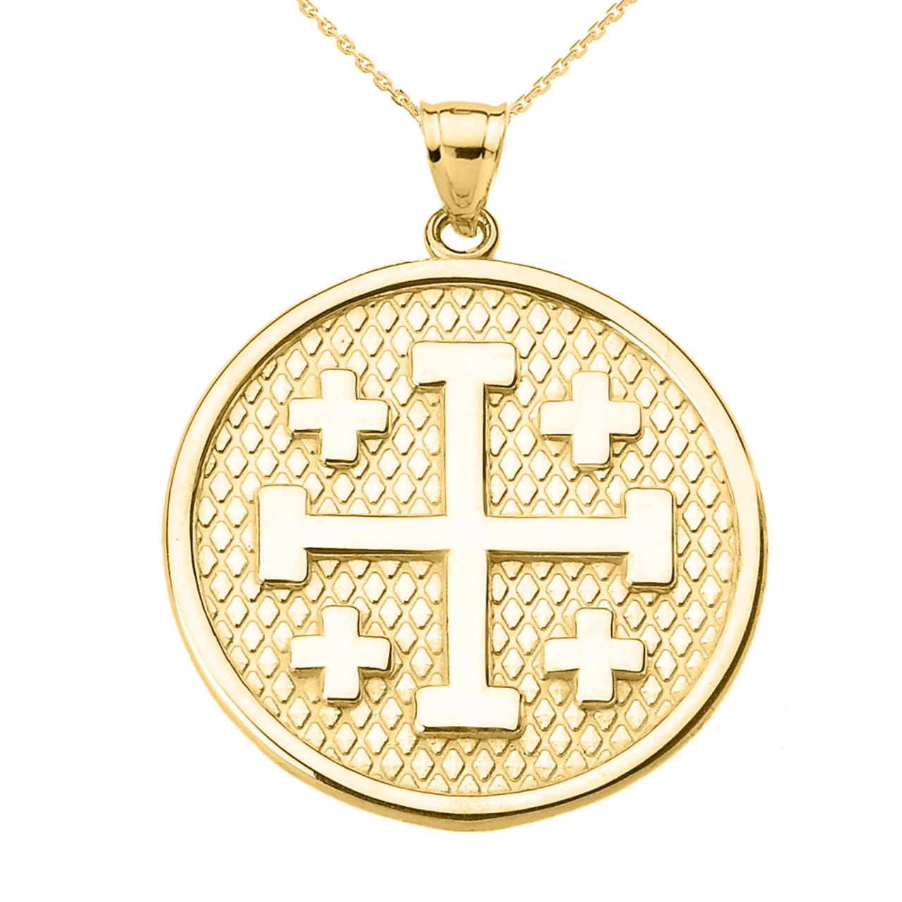 Yellow gold jerusalem cross round pendant necklace aloadofball Images
