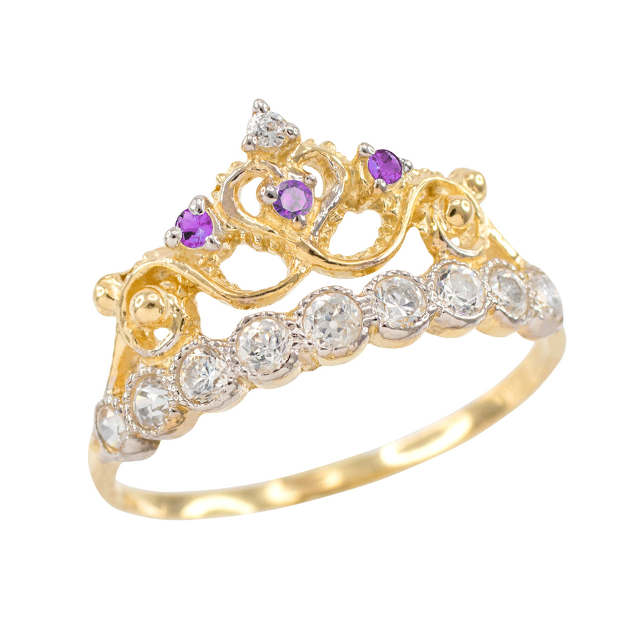 Purple CZ Gold Crown Ring