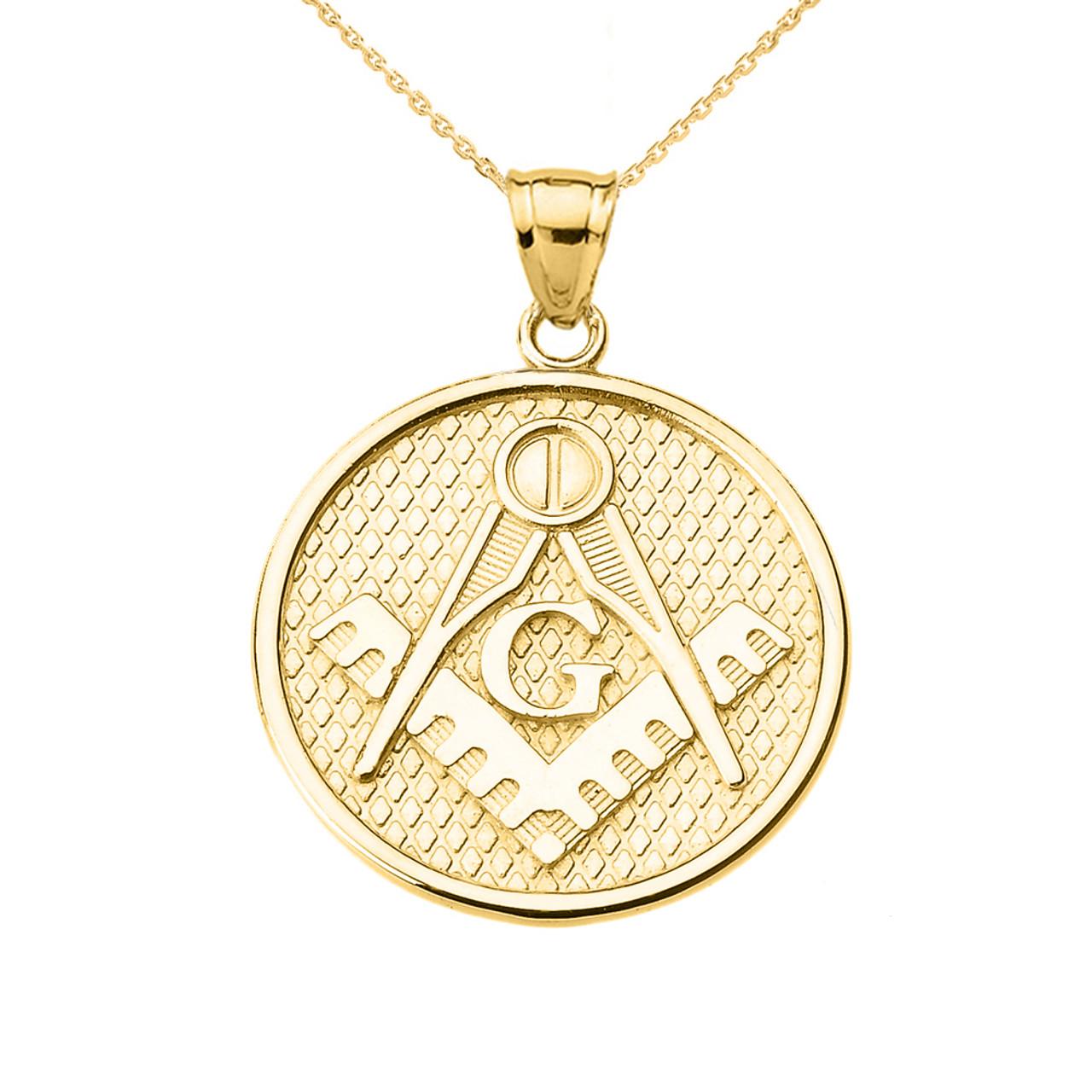 Yellow gold freemason masonic pendant necklace yellow gold freemason masonic round pendant necklace aloadofball Image collections