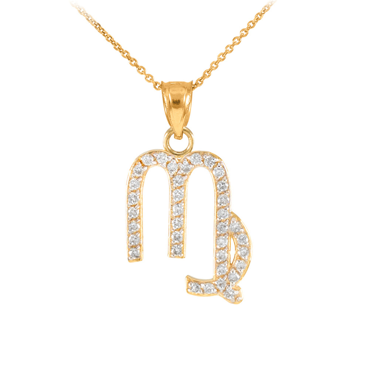 14k gold virgo zodiac sign diamond pendant necklace aloadofball Images