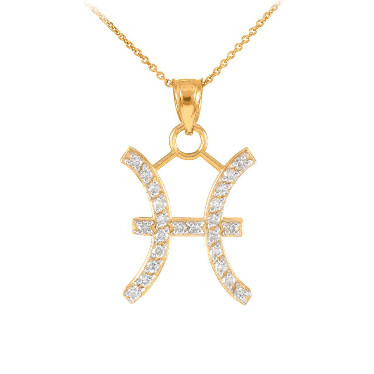 14k gold pisces zodiac sign diamond pendant necklace aloadofball Images