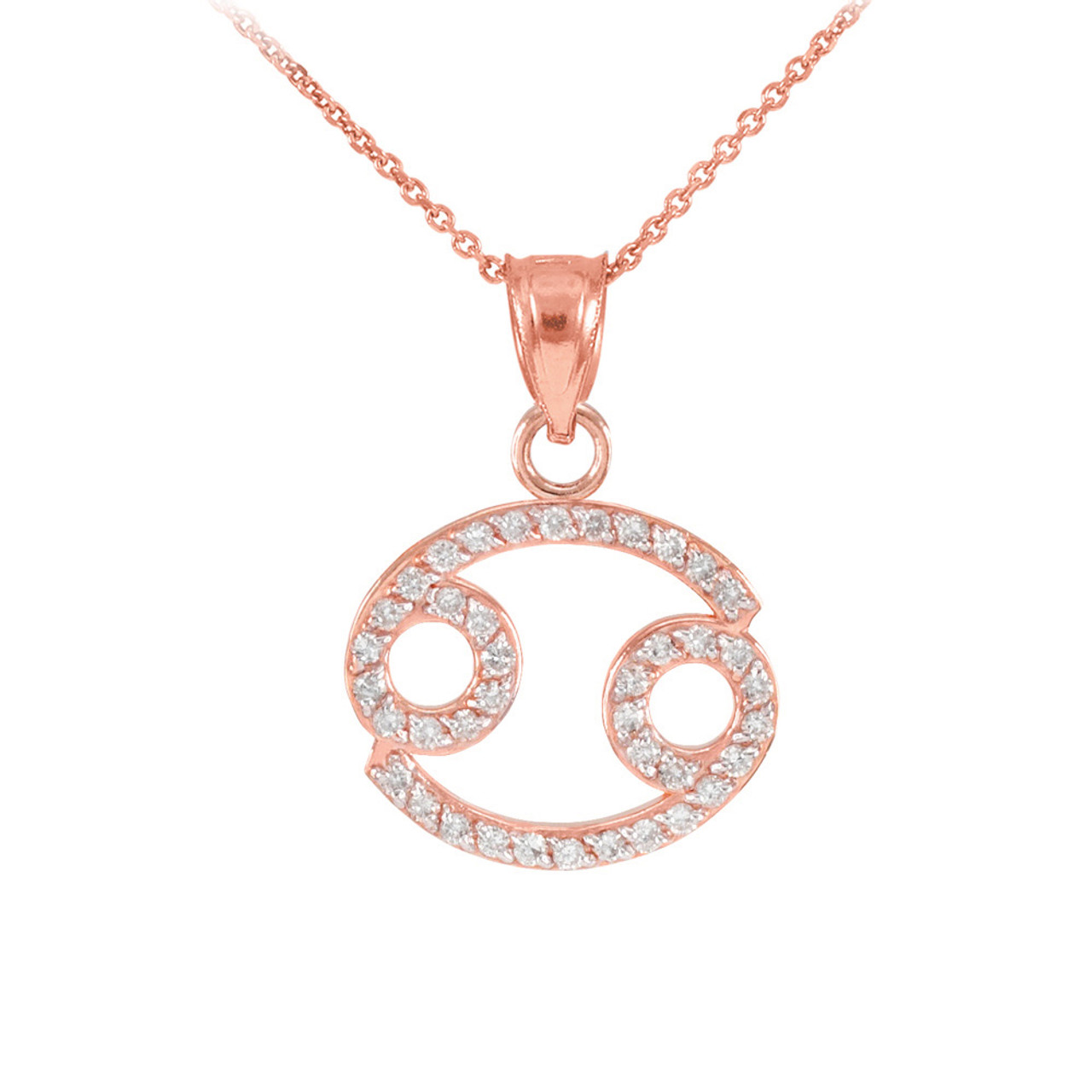 14k rose gold cancer zodiac sign diamond pendant necklace aloadofball Choice Image