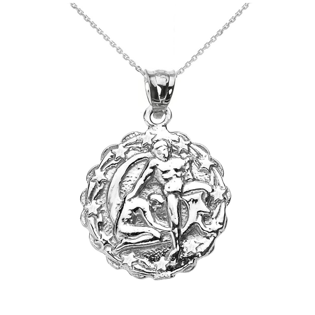 sterling silver gemini june zodiac sign round pendant necklace