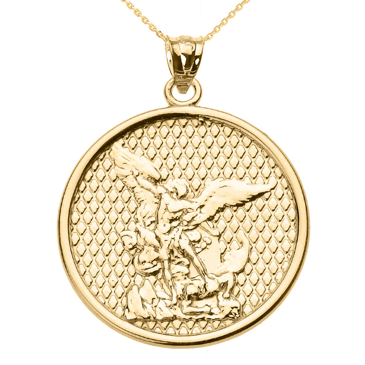 Gold saint michael pendant necklace yellow gold saint michael pendant necklace mozeypictures Image collections