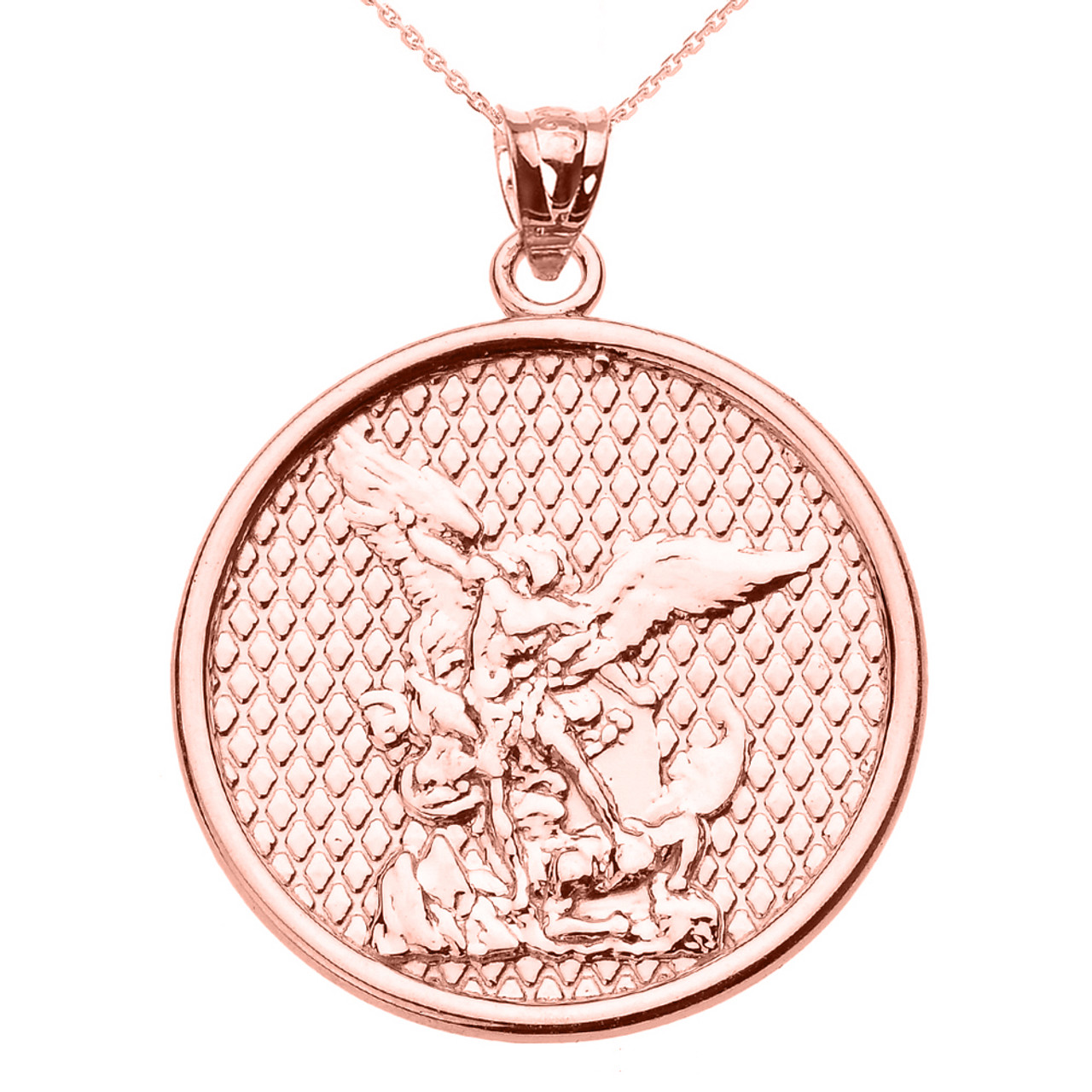 Rose gold saint michael pendant necklace aloadofball Images