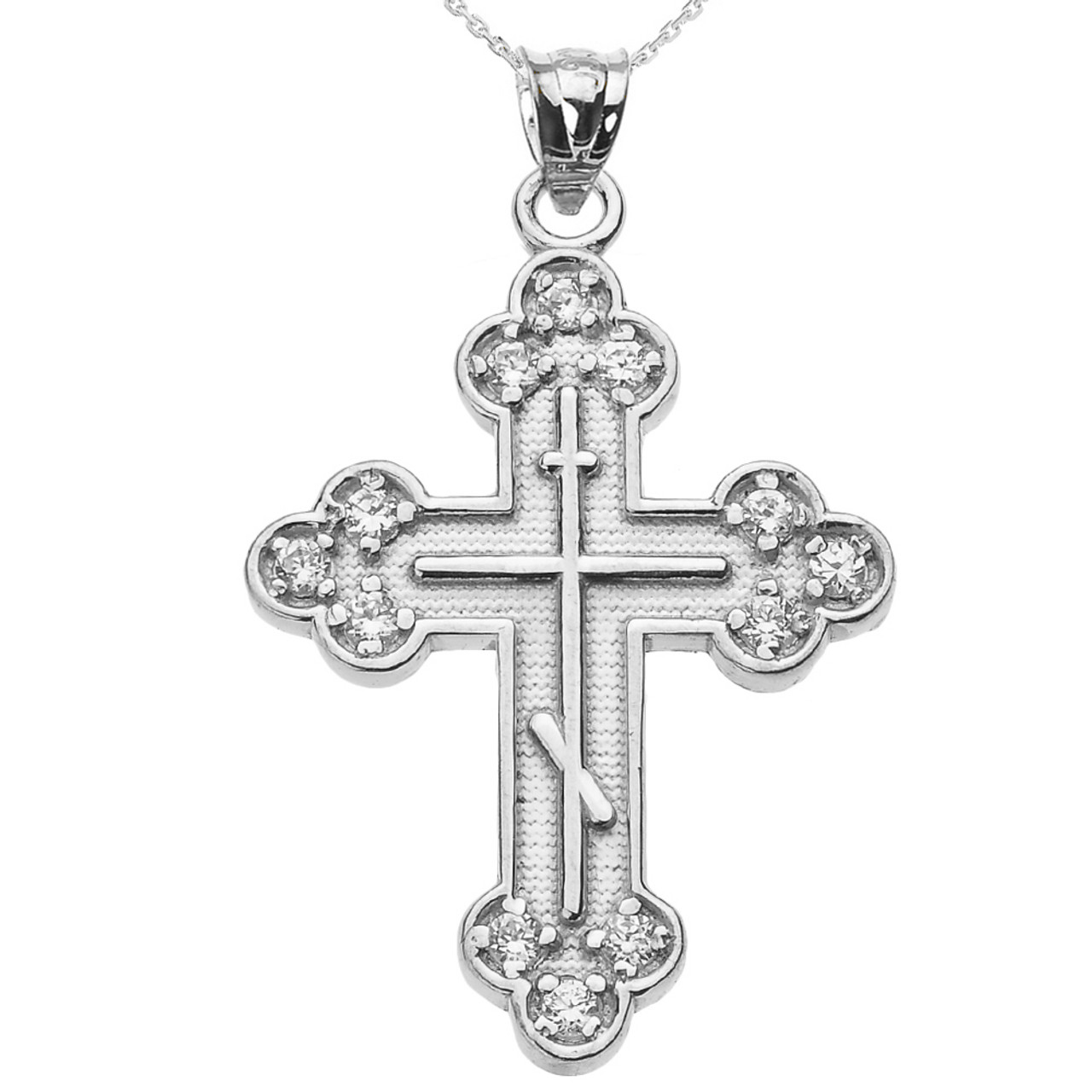 Sterling silver cubic zirconia eastern orthodox cross pendant necklace aloadofball Images