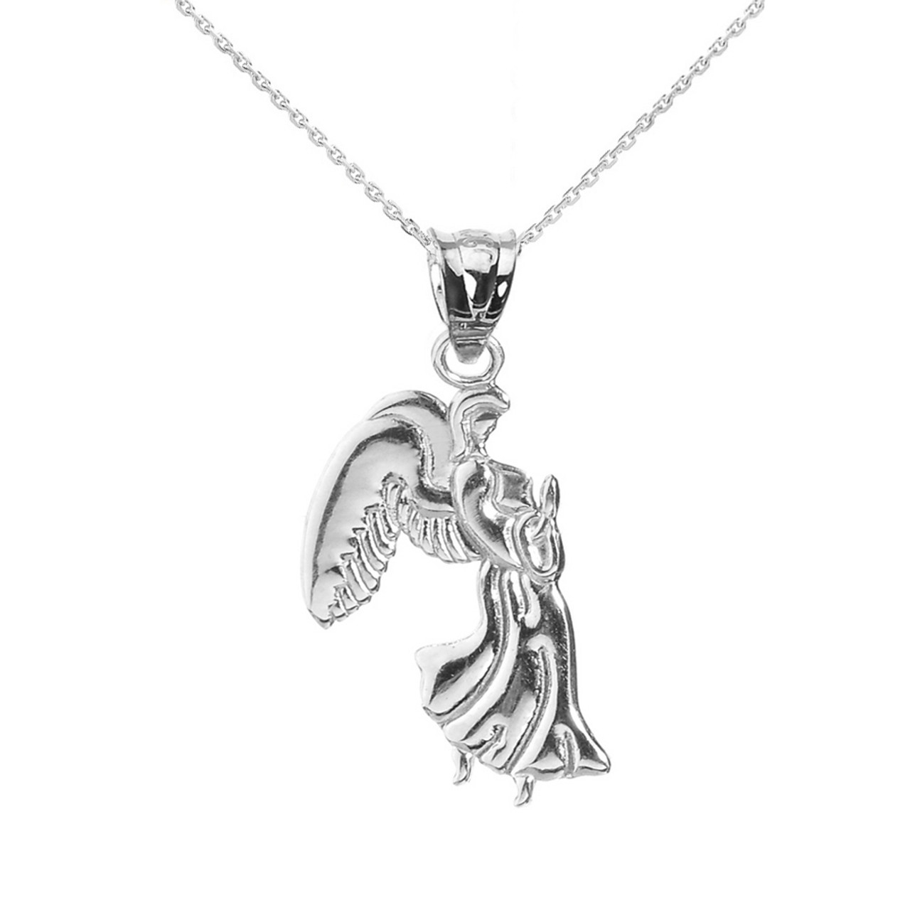 White gold praying angel pendant necklace aloadofball Image collections