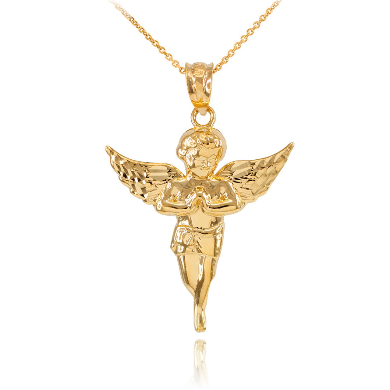 a dipped dogeared guardian angel charm gold wings on reads pendant chain necklace