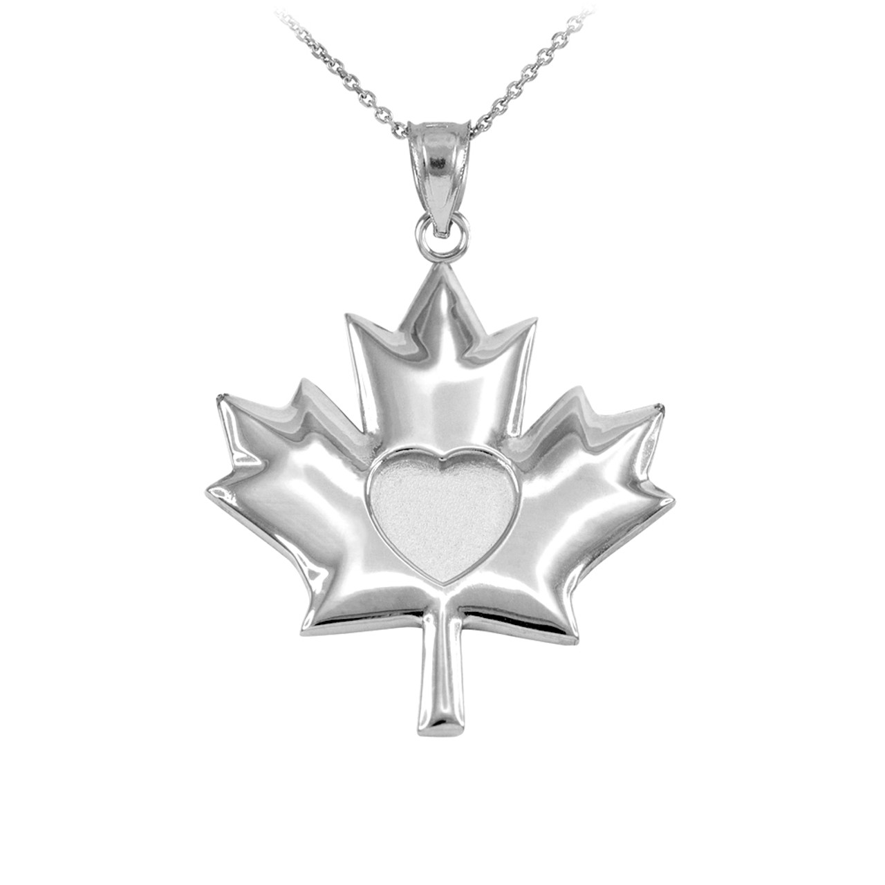 Solid 925 sterling silver heart maple leaf pendant necklace aloadofball Gallery