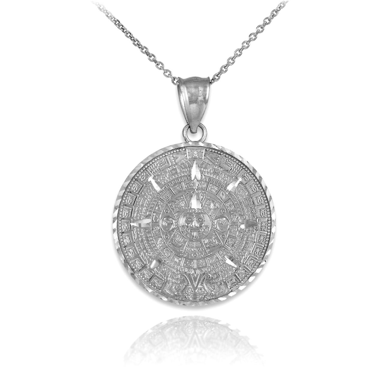 Silver aztec mayan sun calendar pendant necklace aloadofball Image collections