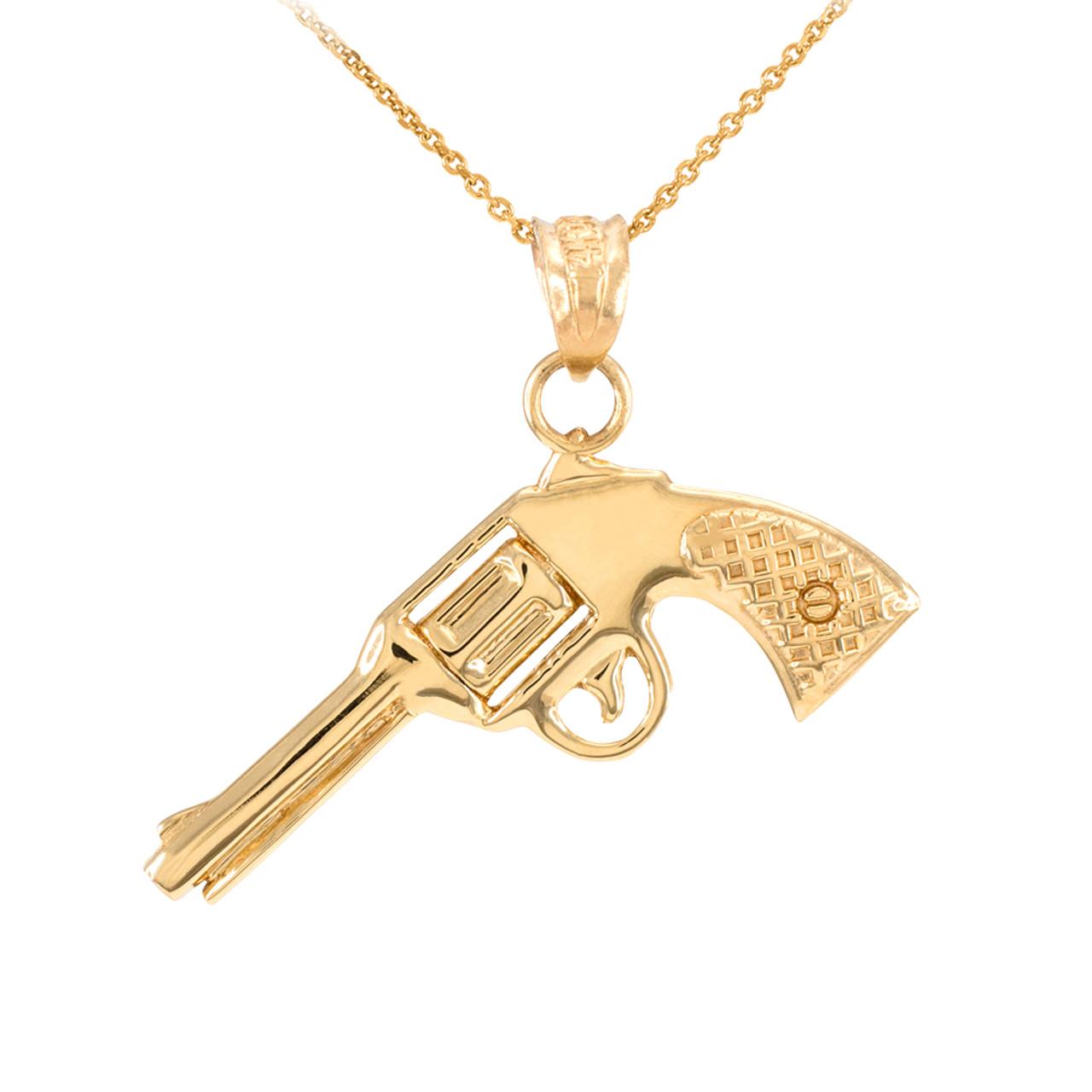 Solid gold gun revolver pistol pendant necklace mozeypictures Images