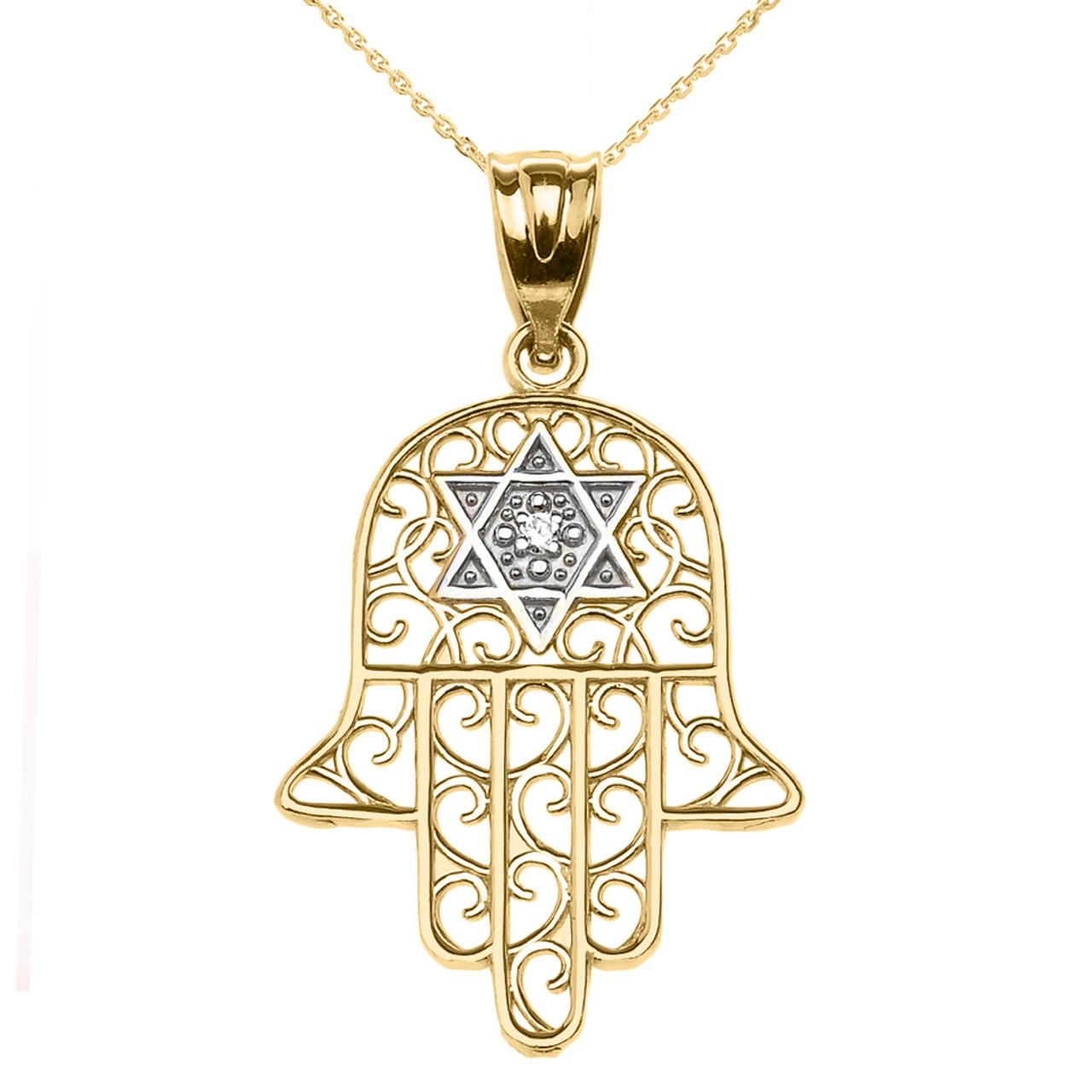 Yellow gold hamsa hand pendant with star of david pendant necklace yellow gold hamsa hand with star of david pendant necklace aloadofball Choice Image