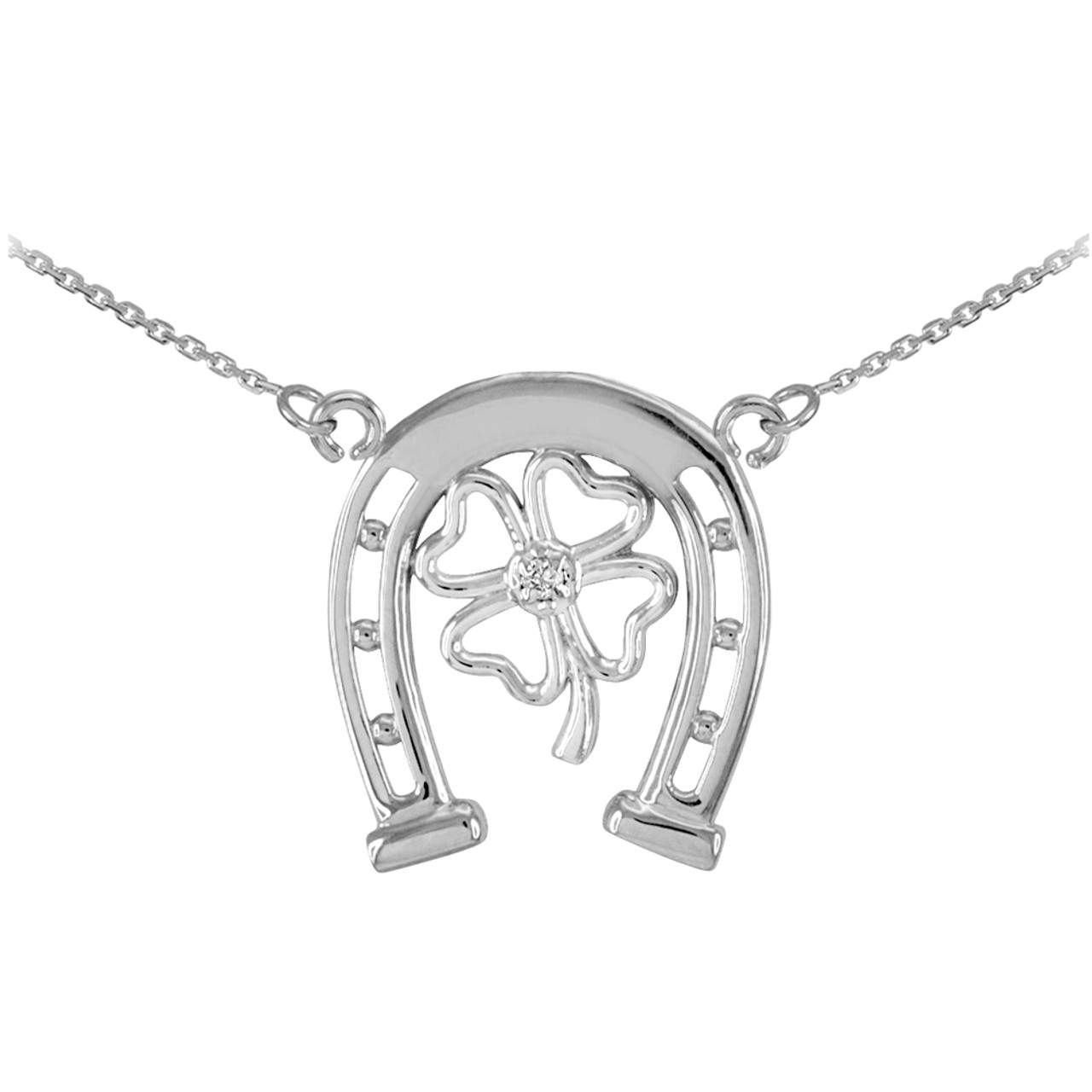 cz pendant sterling good luck leaf four silver clover pave necklace