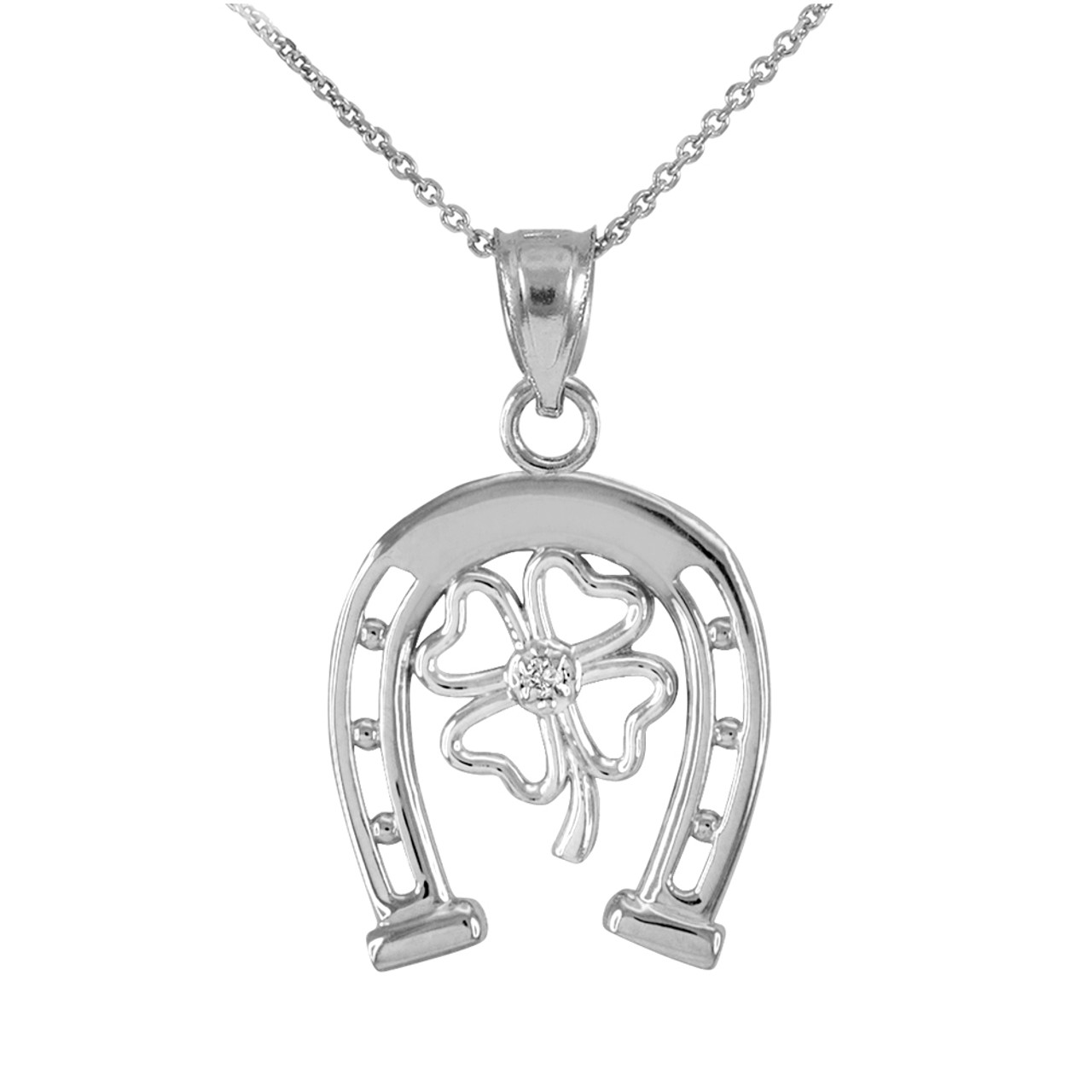 925 sterling silver lucky horseshoe with cz 4 leaf clover pendant 925 sterling silver lucky horseshoe with cz 4 leaf clover pendant necklace aloadofball Image collections