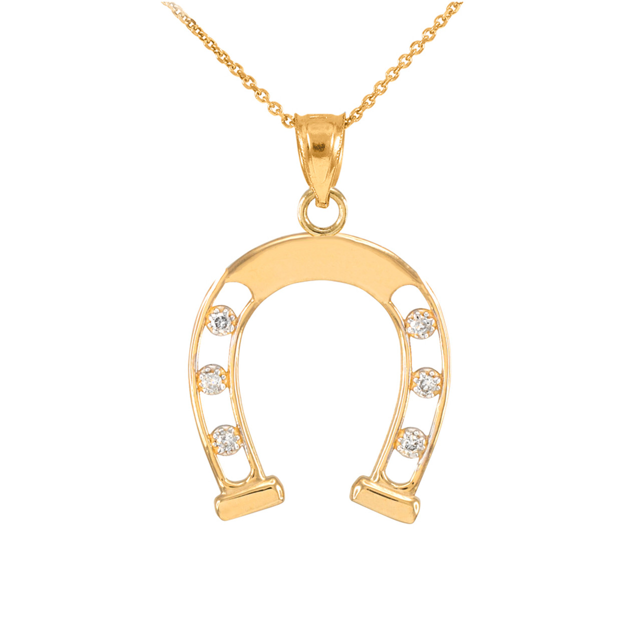 Gold open design good luck horseshoe diamond pendant necklace gold gold open design good luck horseshoe diamond pendant necklace aloadofball Image collections
