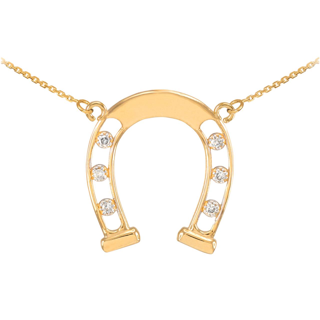 14k yellow gold good luck horseshoe diamond necklace gold lucky 14k gold good luck horseshoe necklace with diamonds aloadofball Choice Image