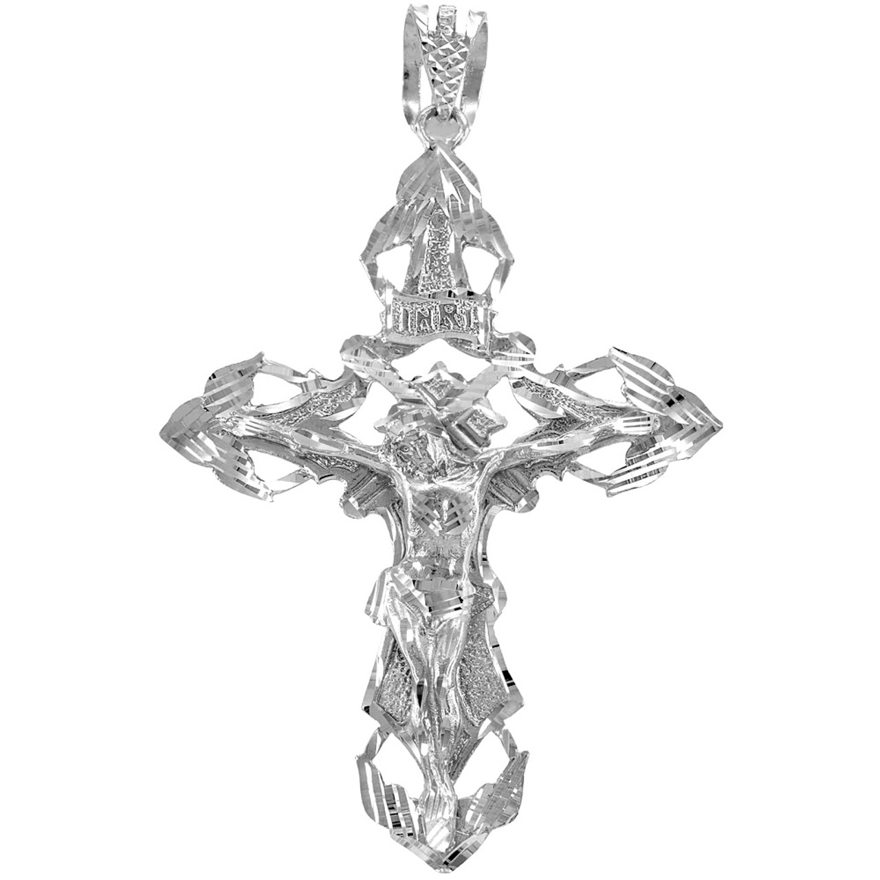 Solid 925 sterling silver extra large hip hop cross crucifix mens solid silver extra large cross pendant aloadofball Choice Image
