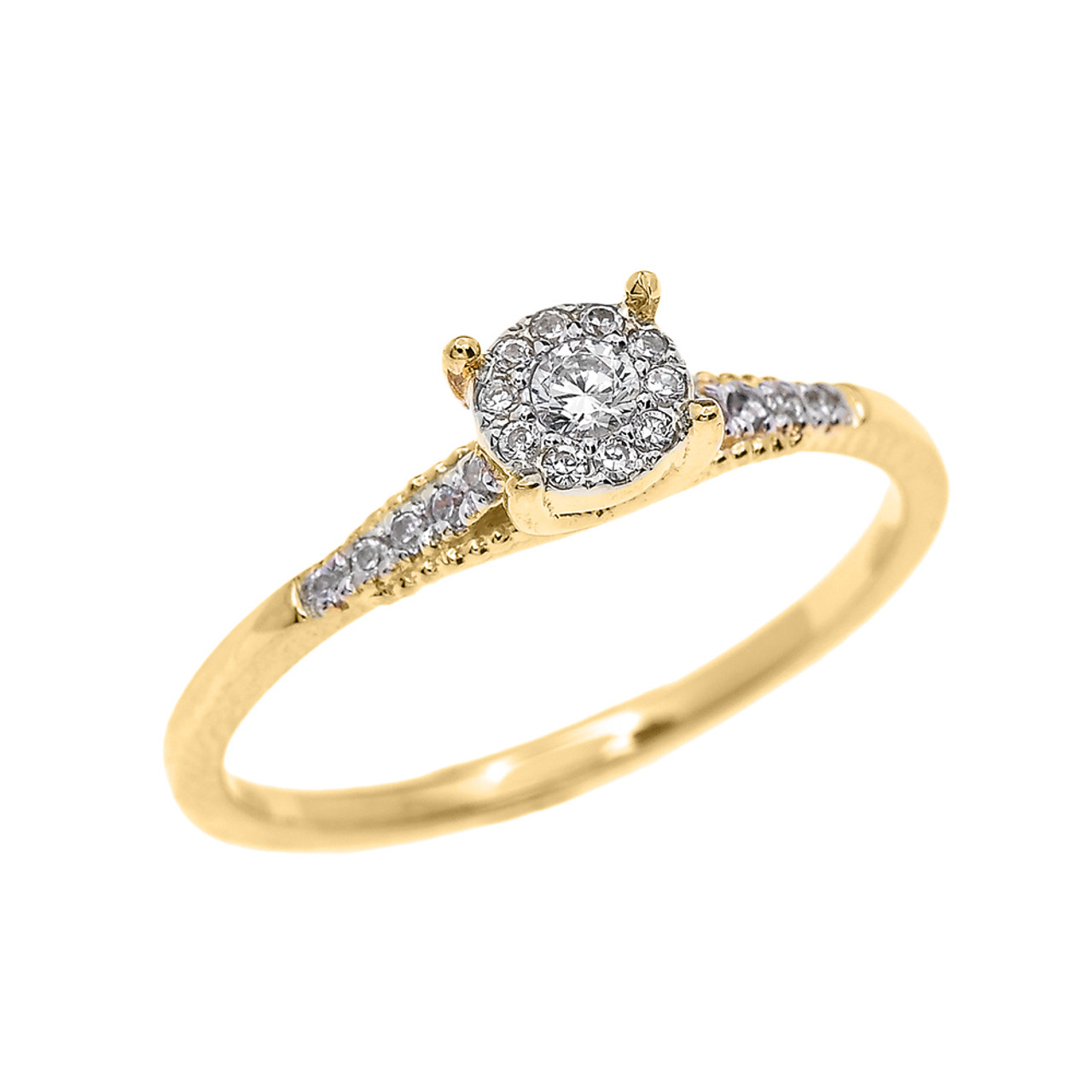 Yellow Gold Halo Diamond Elegant Solitaire Engagement