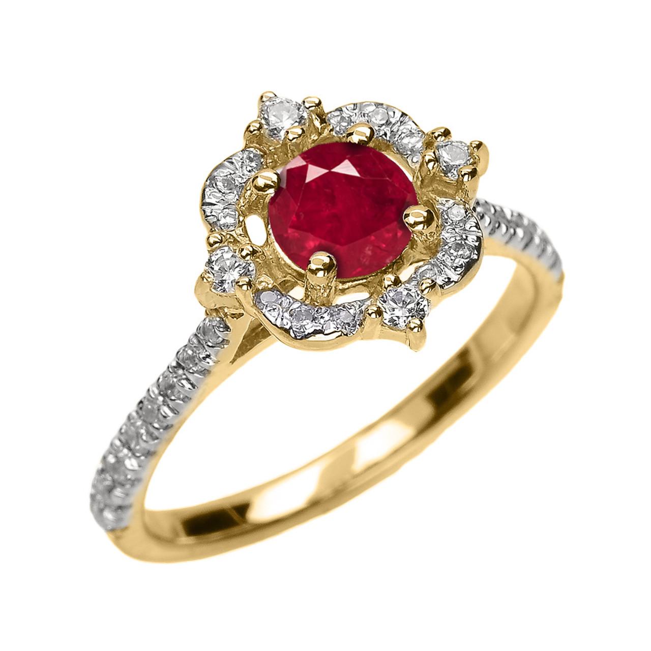 2 Band Diamond Wedding Engagement Proposal Set Ring: Yellow Gold Genuine Ruby And Diamond Dainty Engagement