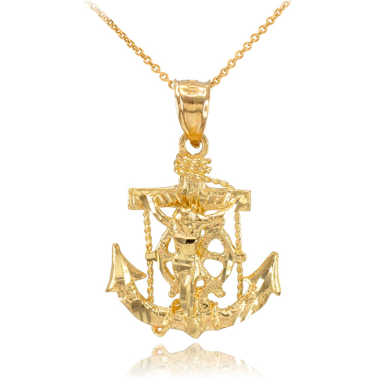 Gold mariner crucifix anchor cross pendant necklace gold mariners gold mariner crucifix anchor cross pendant necklace aloadofball Image collections