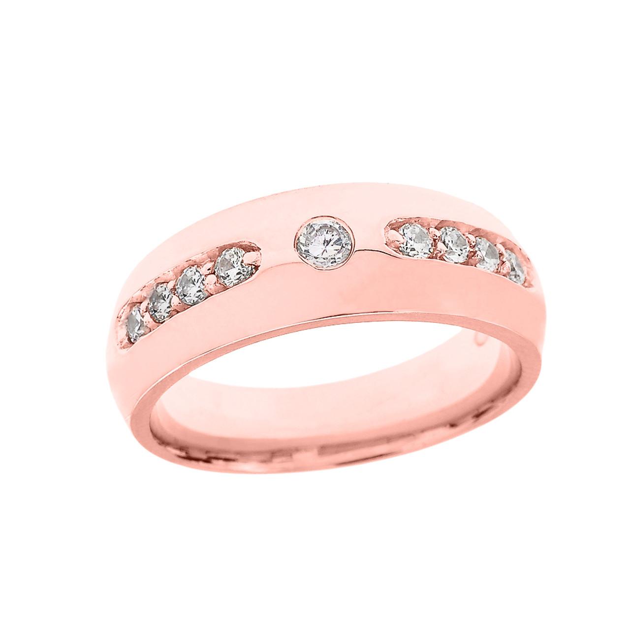 Rose Gold CZ comfort Fit Men\'s Wedding Band Ring