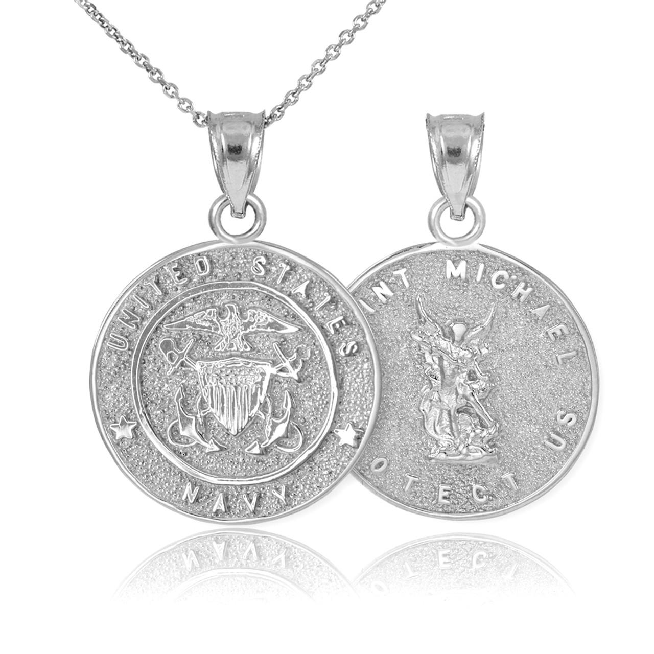 White gold us navy reversible st michael pendant necklace aloadofball Gallery