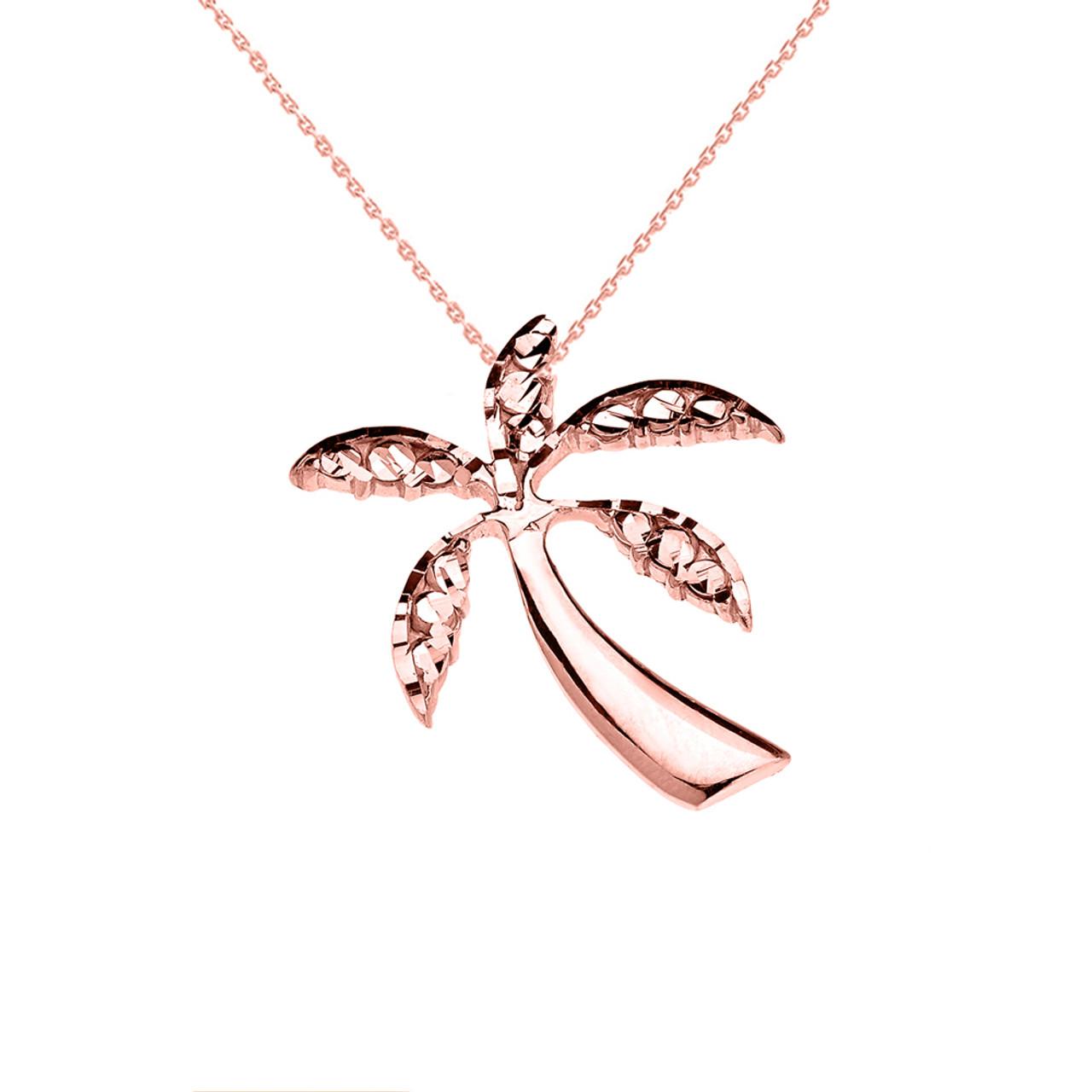 Rose gold california exotic palm tree pendant necklace aloadofball Choice Image