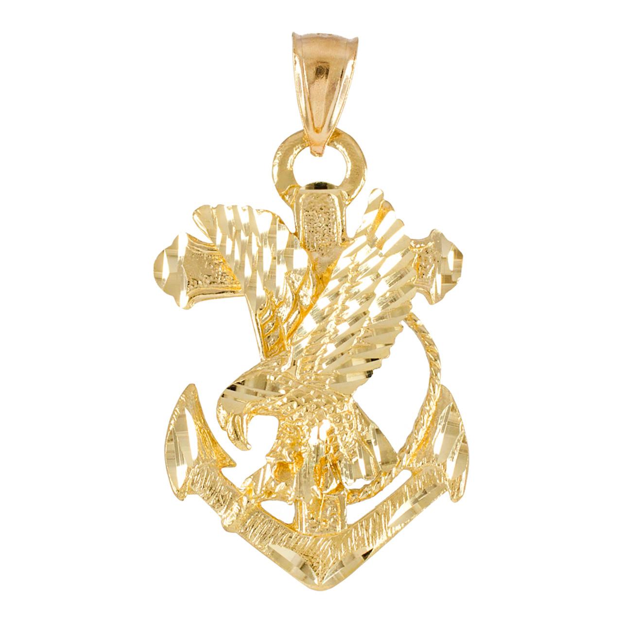 Gold anchor eagle diamond cut pendant aloadofball Gallery