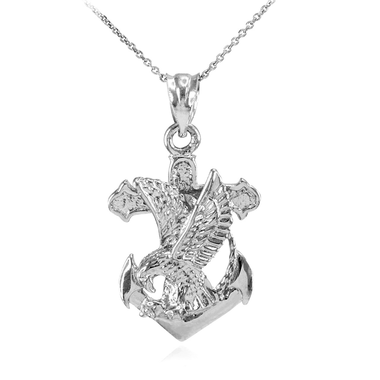 925 sterling silver anchor eagle diamond cut pendant necklace aloadofball