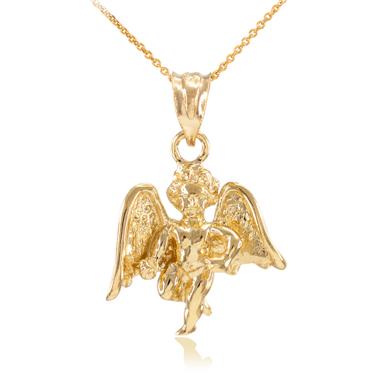 pendant the fallen angel necklace jewelry micro cherub plated gold plug products