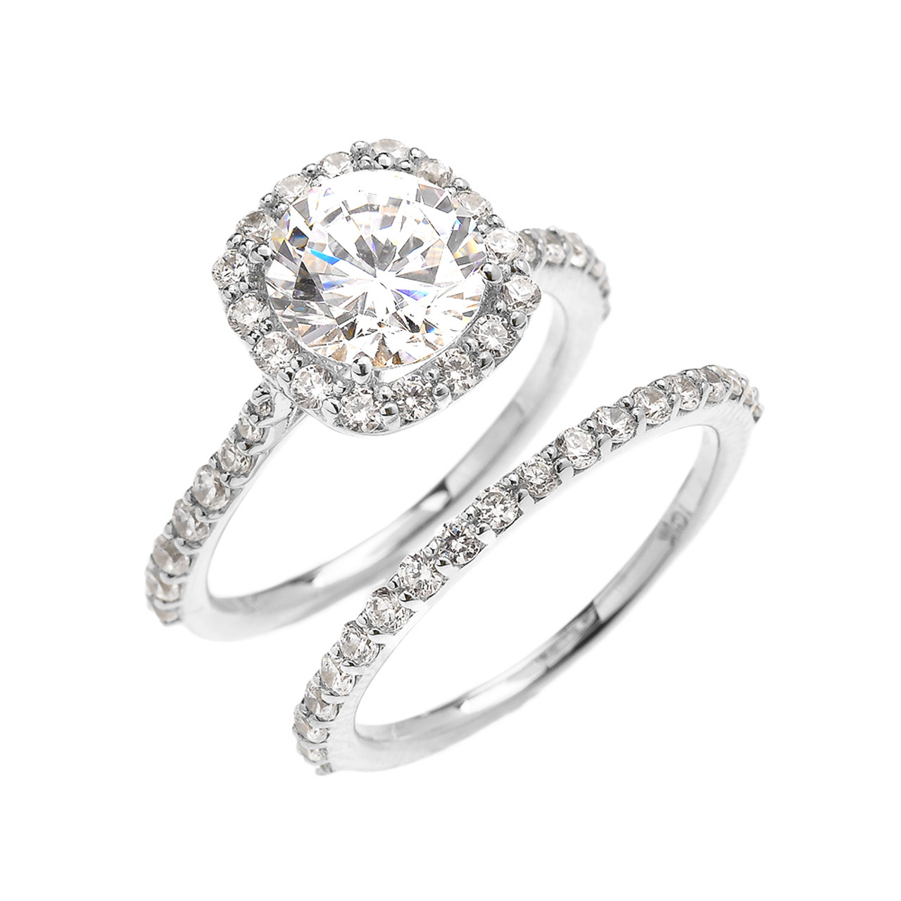 Beautiful Dainty White Gold 3 Carat Halo Solitaire CZ Engagement ...