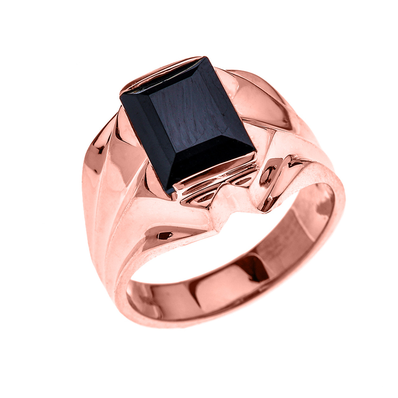 Men\'s Rose Gold 4 Carat Black Onyx Bold Solitaire Ring