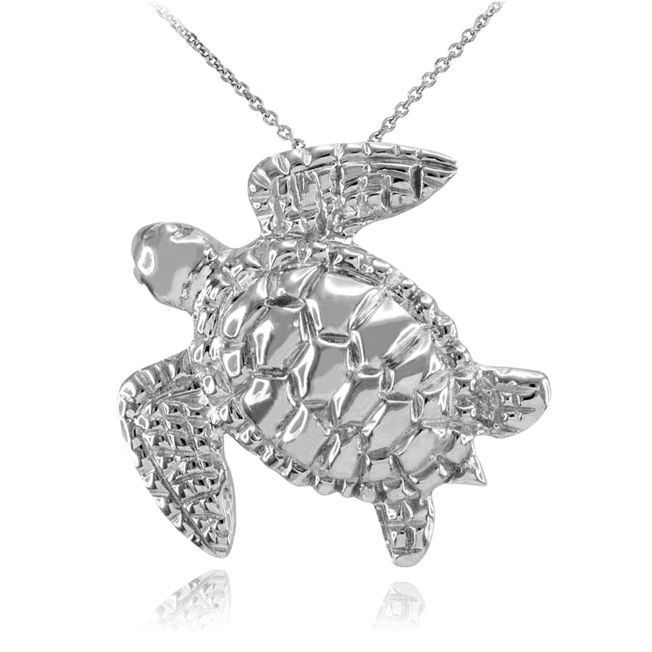 White gold turtle pendant necklace aloadofball Choice Image