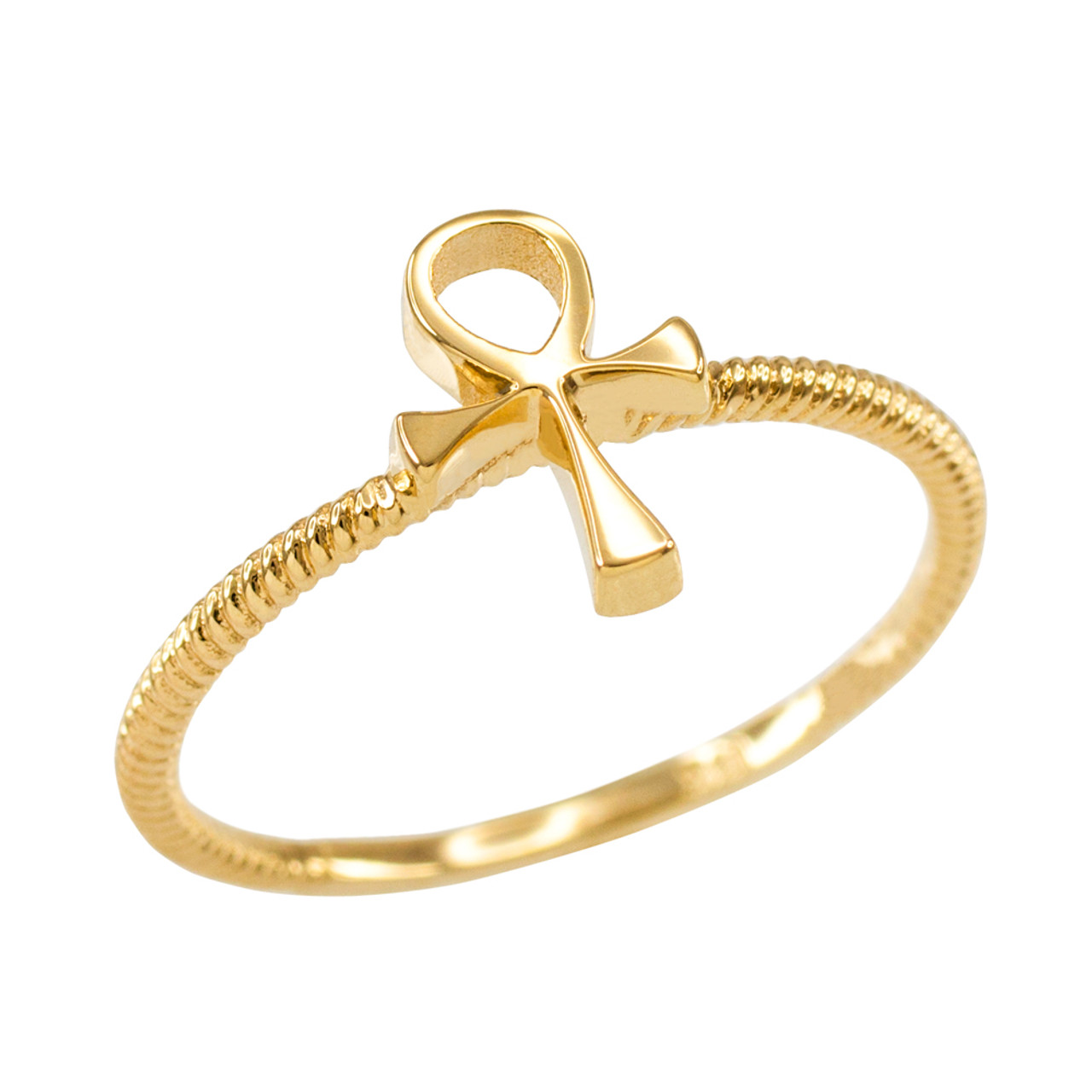 dainty yellow gold egyptian ankh cross ring women 39 s. Black Bedroom Furniture Sets. Home Design Ideas