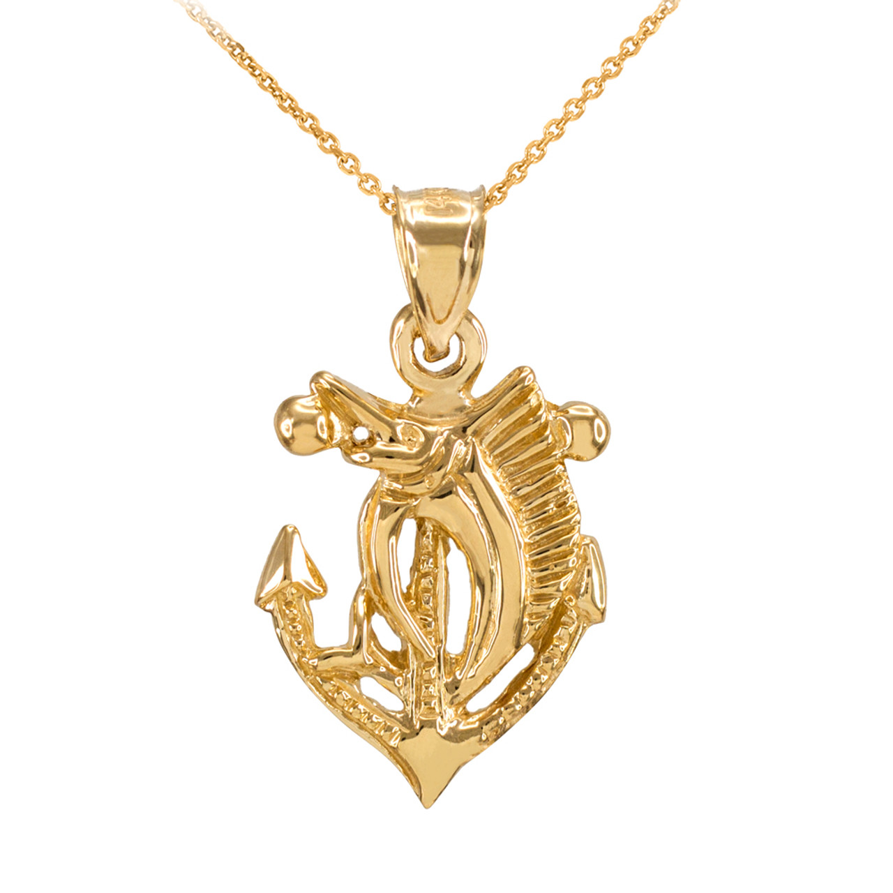 Yellow Gold Anchor with MarlinSailfish Diamond Cut Pendant Necklace