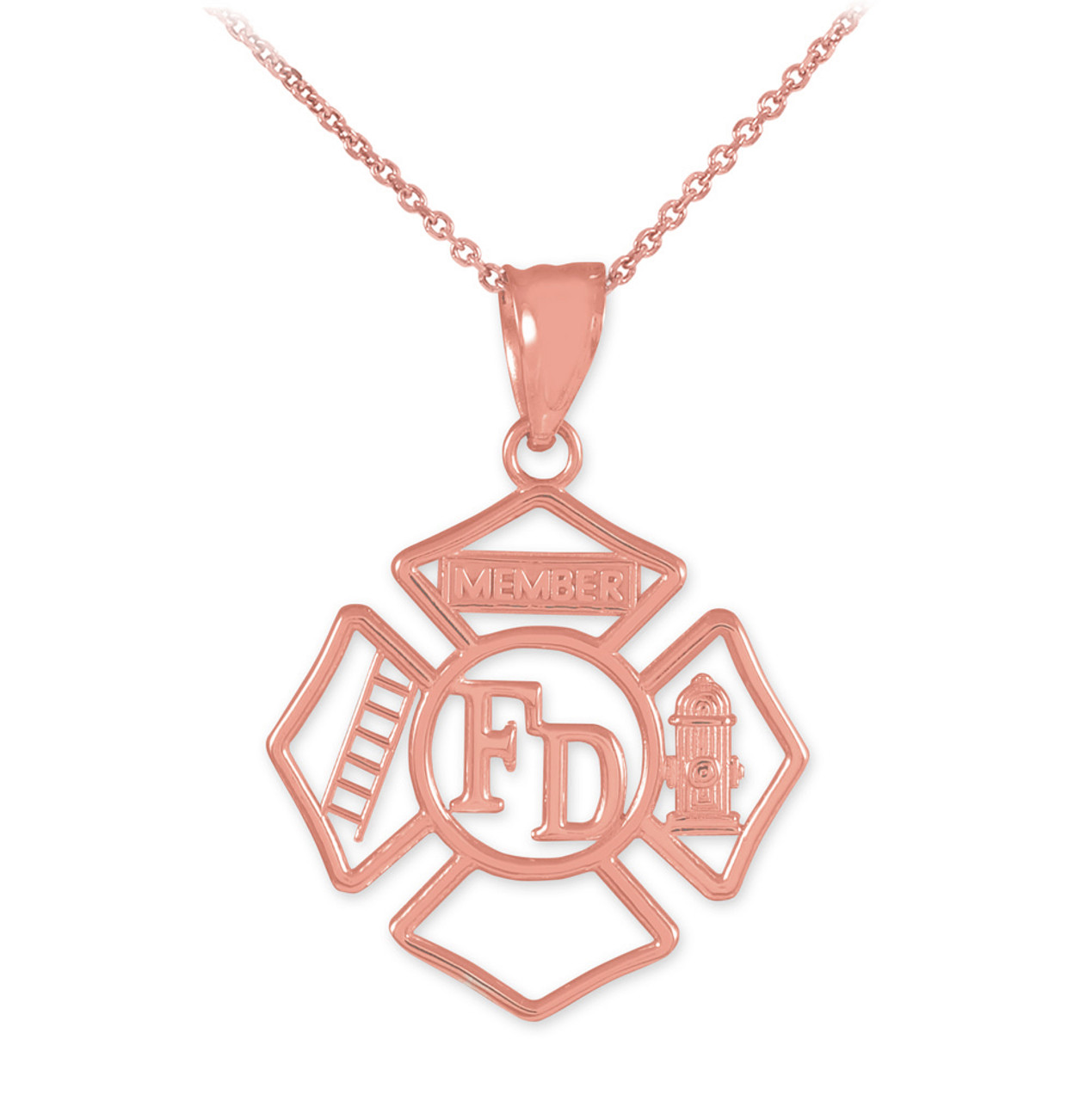 firefighter maltese necklaces pendant his cross hers pin