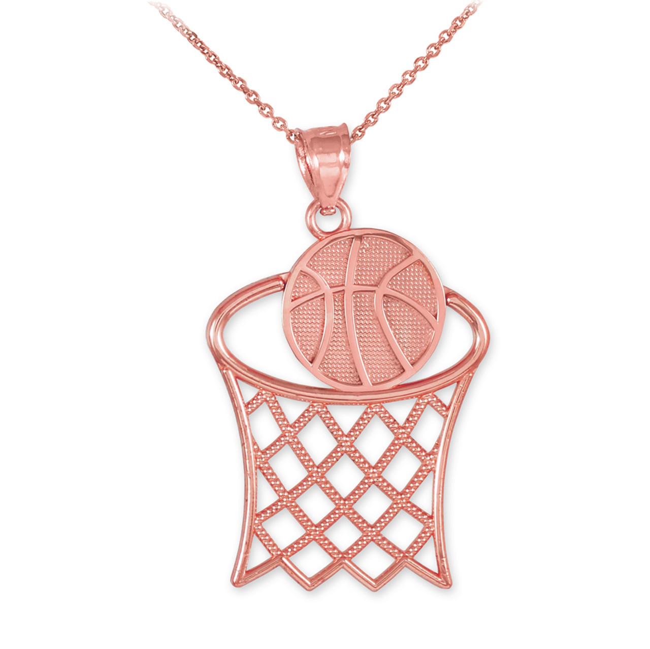 Rose Gold Basketball Hoop Sports Charm Pendant Necklace Gold