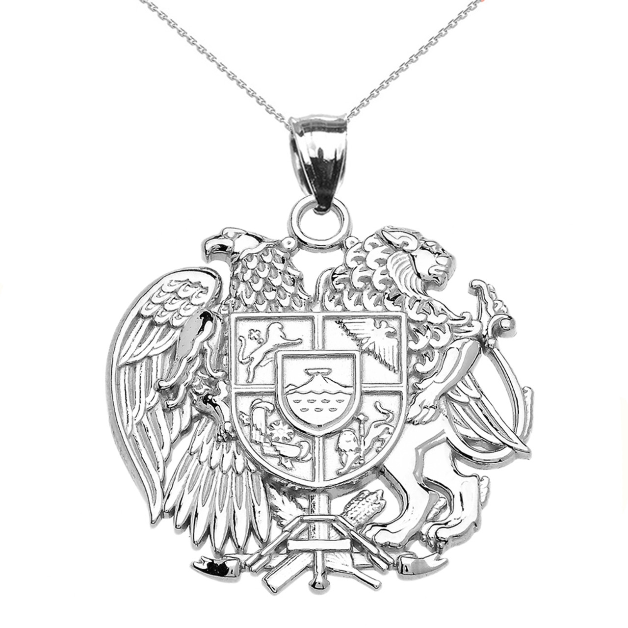 White gold armenian national coat of arms eagle and lion pendant white gold armenian national coat of arms eagle and lion pendant necklace aloadofball Choice Image