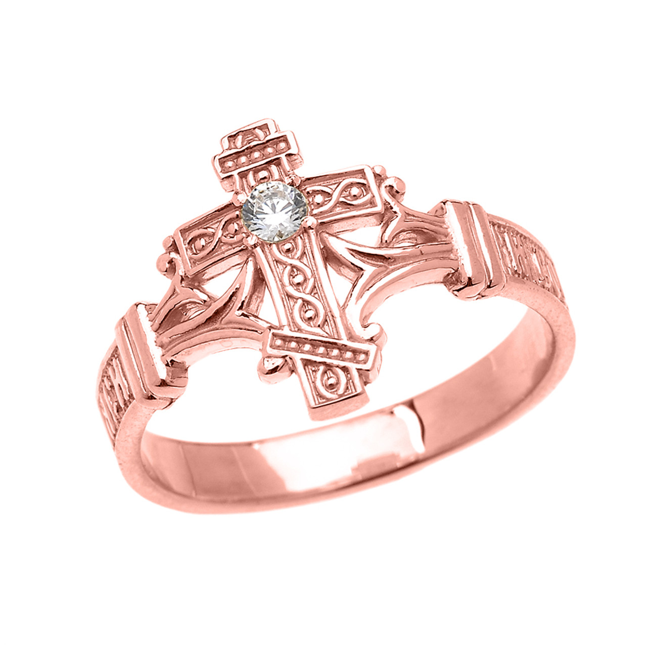 Rose Gold Solitaire Cubic Zirconia Orthodox Cross with Encrypted ...