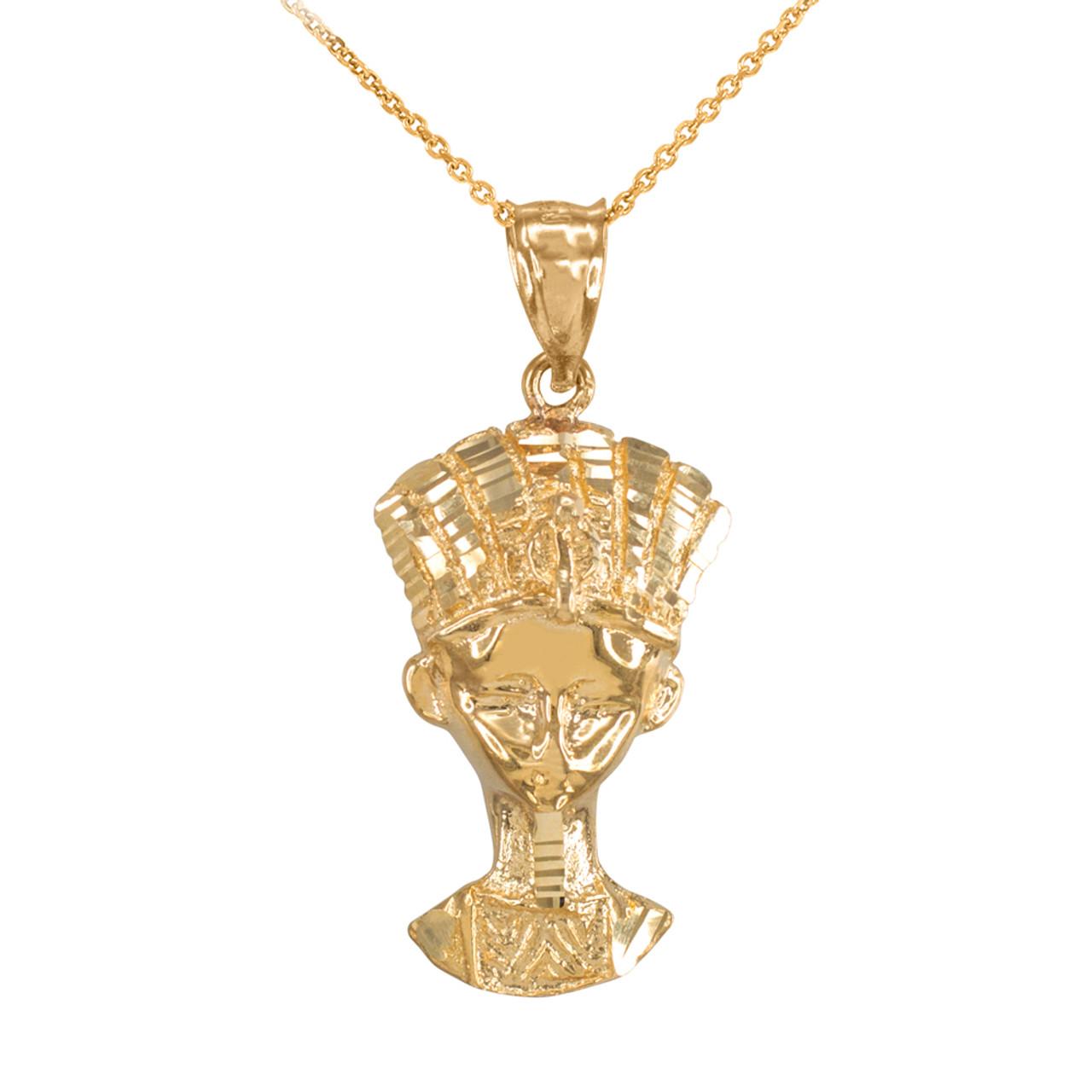 Gold Egyptian Queen Nefertiti Pendant Necklace  Gold Egyptian Q...