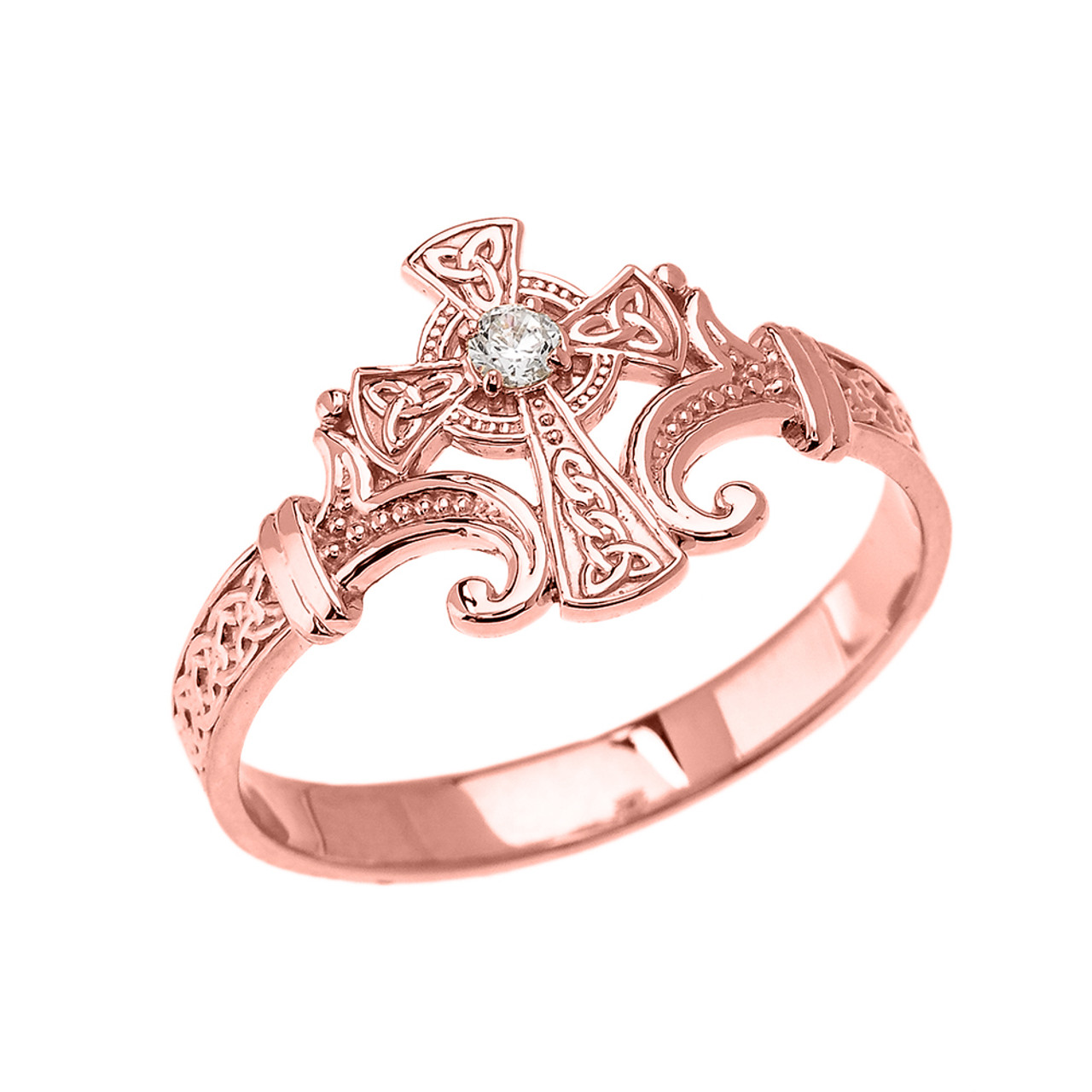 Rose Gold Solitaire Cubic zirconia Celtic Cross With Trinity Design ...