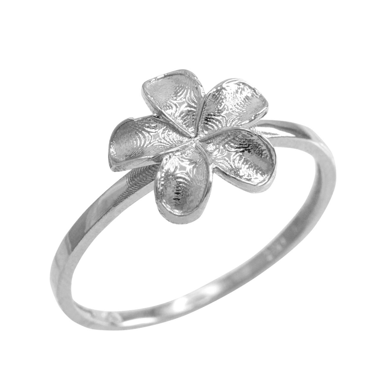Sterling silver smooth hawaiian plumeria flower ring izmirmasajfo