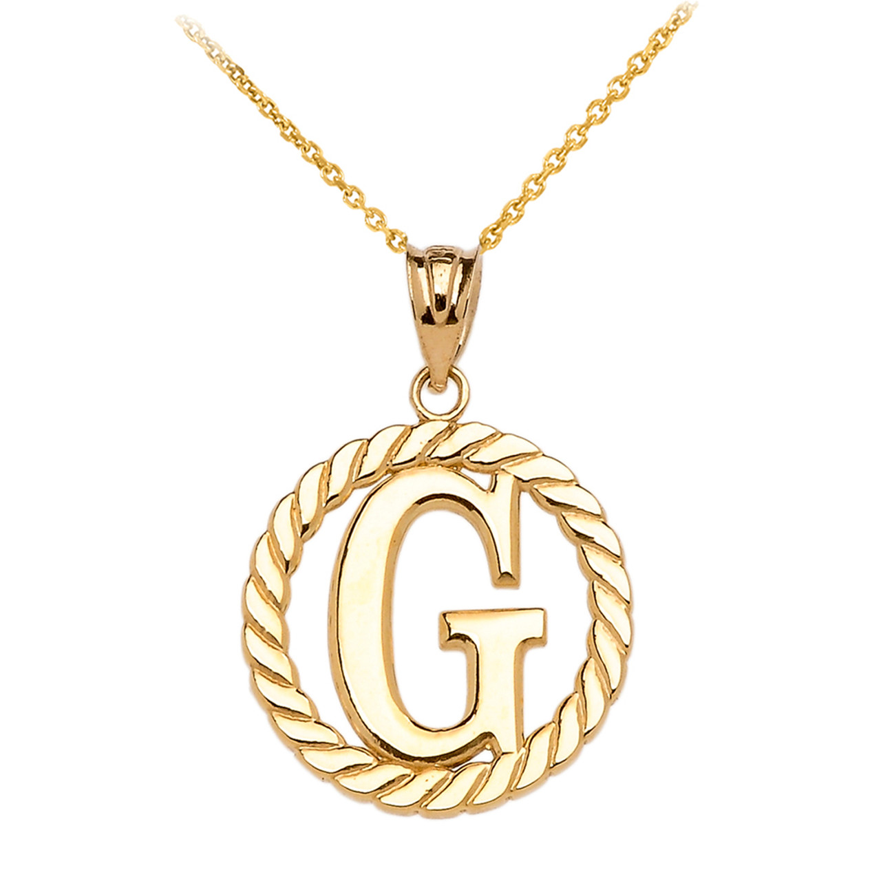Yellow gold g initial in rope circle pendant necklace mozeypictures Gallery
