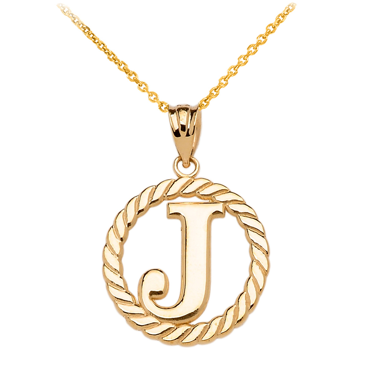 Yellow gold j initial in rope circle pendant necklace aloadofball Images